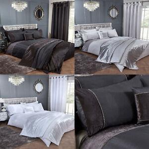 Kayla Crushed Velvet Band Diamante Stripe Detail Duvet Cover Set Bedding Range