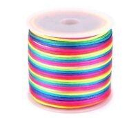 Rainbow Satin Nylon Cord Rattail Thread 1 or 2mm for Shamballa Kumihimo Macrame