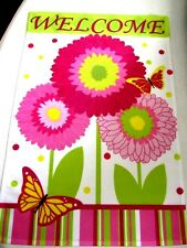 "Welcome Gerber Garden Flag Mini Banner Size 12.5"" x 18"" Hot Pink Flowers Patio"