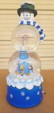 "Rare 13"" Disney Winnie the Pooh Snow Globe Oh Christmas Tree Snowman"