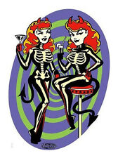 SEXY COCKTAIL MARTINI SKULL DEVIL GIRLS R/C VINYL STICKER/ DECAL BY VINCE RAY