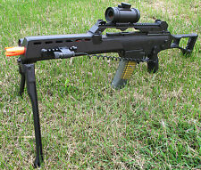 Airsoft Spring Sniper Rifle G36C Style with Metal Laser, Crosshair Scope, Bi-Pod