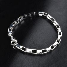 Women Men 925 Silver Plated Hollow Chain Charm Cuff Wristband Bracelet Jewelry