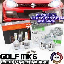 VW Golf MK6 H7 H15 Led Faros Bombillas Paquete DRL High Beam Flash Luces Laterales