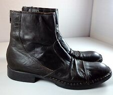 Mens ALDO Dark Brown Leather Ankle Boots Back Zip Size 42 US 9