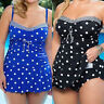 Women's Plus Size Polka Dot Tankini Swimwear Swim Dress Push Up Bikini Swimsuit