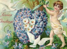 c.1910 Embossed Valentine Angel Cherub Violets P164