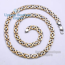 "28""Gold Silver Stainless Steel Byzantine Box Chain Necklace for Men's 2"