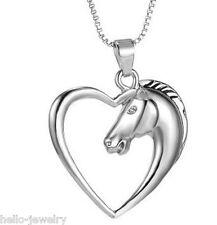 Herren Damen Halskette Pulloverkette Halsschmuck Pferd Strass Silber Anhänger