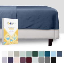 California Design Den Flat Top Sheet Only - Twin Size Indigo Navy Blue Color 400