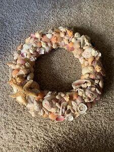 "Nautical Sea Shell Wreath 12"" Beach Ocean Coastal Home Decor Natural Homemade"