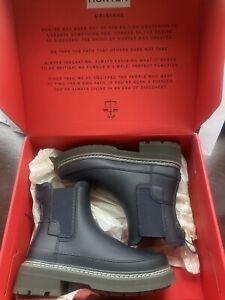 Hunter Stitch Chelsea Boots Size 4 Navy BNIB RRP £125