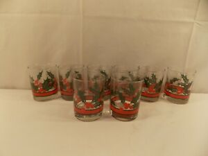 "Set of 8 Christmas  Holly & Berries Highball Glasses 4 1/4"" tall"