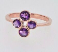 9ct rose gold 4 stone amethyst ring size O 1/2 NEW