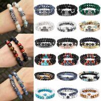 2PCS/Set Fashion Men Natural Stone Crystal Rhinestone Bracelet Bangle Jewelry