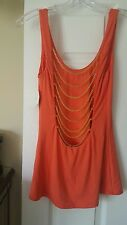 NWT Sky Brand TANK Top ORANGE OPEN BACK WITH GOLD CHAINS Club Party Spring SZ. M