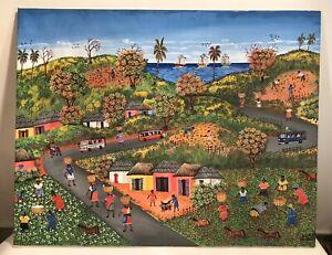 "Haitian Painting by Master Eddy Myrthil 38x30"" Oil Canvas Haiti Art Landscape"