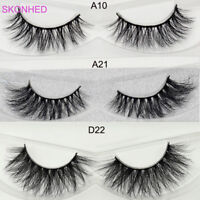 SKONHED 3D Siberian100% Mink Hair False Eyelashes Fluffy Cross Lashes 3 Styles