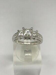 14K White Gold 1.50ctw Princess Cut 3-Stone w/Accents Diamond Engagement Ring sz