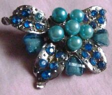 shape blue crystals,faux pearls,rhinestones Vntage Brooch Silver plate butterfly