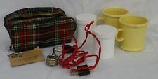 Red Plaid Tartan Travel Kewar Koffee Kit Instant Coffee Maker Vintage Works