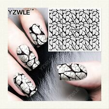 Nail Art Water Decals Stickers Transfers Stamping Black Lace Flowers (8562)