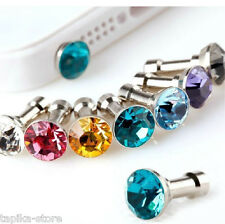 10 x Bling Diamond Anti Dust Cap Earphone 3.5mm RANDOM Jack Plug iPhone Mobile