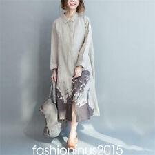 Women Cotton Linen Long Button Down Shirt Blouse Tunic Maxi Loose Dress Cardigan