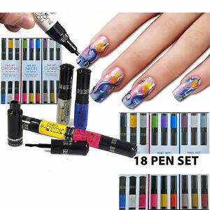 Nail Art 18 Pens Set Varnish Polish Design Nails ORIGINAL NEON CLASSIC AUCTION !