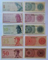 INDONESIA 5 billetes 1, 5, 10, 25 y 50 sen, año 1964. Sin circular UNC.