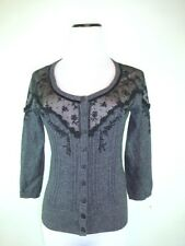 GUINEVERE ANTHROPOLOGIE GRAY BLACK LACE SCOOP NECK CARDIGAN SWEATER TOP S