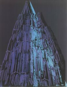 ANDY WARHOL Koln Cathedral Blue 35.5 x 27.5 Poster Pop Art Blue, Black, Turquois