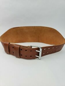 """Harbinger 6"""" Oiled Leather Weight Lifting Belt - Large - Brown - Made in USA"""