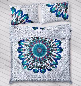 Indian Cotton Duvet Cover + 1 Tapestry+ 2 pillow Bohemian Mandala Hippie Blanket