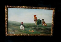 Antique French oil cardboard chicken rooster painting 1906 Signed