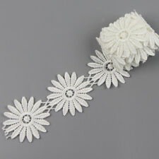 2 Yards Daisy Flower Polyester Applique Lace Trim Wedding Dress Sewing Costume