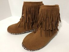 Brown Faux Suede Women's M 7/8 Boot Slippers Long Fringe Non Slip Soles