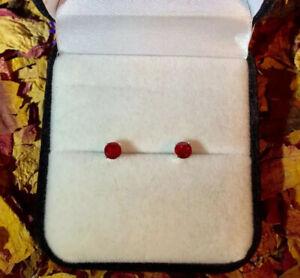 Hypoallergenic genuine natural Deep Red Ruby 4mm surgical steel stud earrings 🌹