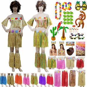 NEW LADIES HAWAIIAN BEACH SUMMER INFLATABLE LEI HULA SKIRT BRA GIRLS FANCY DRESS