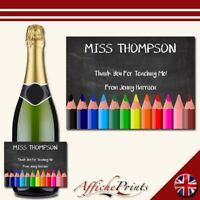 L145 Personalised Teacher Thank You Chalk Board Prosecco Custom Bottle Label