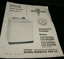 VINTAGE INSTALLATION INSTRUCTIONS WIRING DIAGRAM & PARTS LIST KENMORE WASHER '56