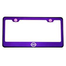 Purple Chrome Laser Etched Fit Nissan Logo License Plate Frame Stainless Steel