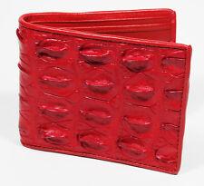 New Red Genuine Leather Crocodile Alligator  Horn back Skin Men's Bi-fold Wallet