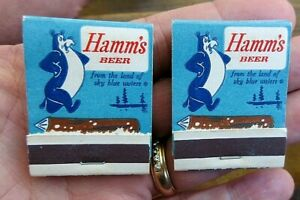 2 VINTAGE HAMM'S BEER FULL FRONT STRIKE MATCH BOOK WITH HAMM'S BEAR