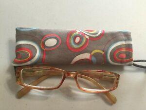 Calabria Splash Designer Reading Glasses 3.25 New Case Orange Gold Tie Dye?