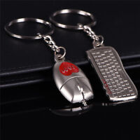 Metal Computer Keyboard Mouse Lovers Key Buckle Automobile Gifts Key Pendant EO