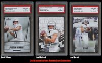 JUSTIN HERBERT 2020 LEAF DRAFT/SILVER/PRIZED 1ST GRADED 10 ROOKIE CARD LOT OF 3