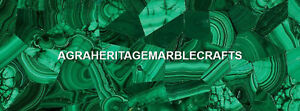 Modern Marble Large Inlay Table Top Malachite Dark Stone Occasional Decor H5591