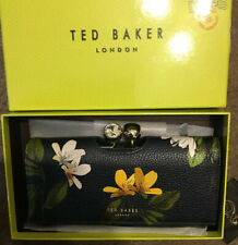Ted Baker Savannah Large Leather Floral Purse BNWTS Navy