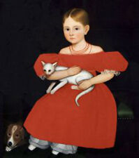 Girl in Red Dress with Cat and Dog Ammi Phillips Portrait Print Poster 16x14